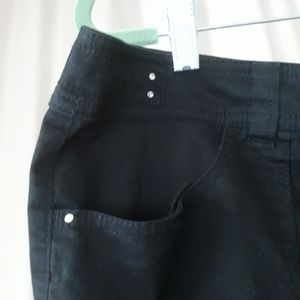 Chicos Cotton Pants Waist Tab Crystal Studs Black